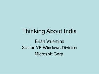 Thinking About India