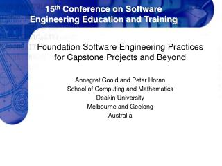 15 th  Conference on Software Engineering Education and Training