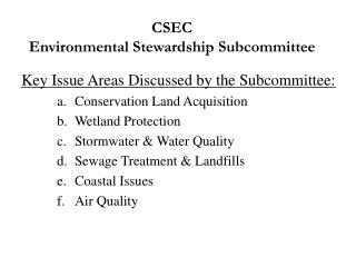 CSEC Environmental Stewardship Subcommittee
