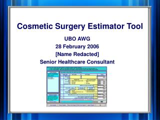 Cosmetic Surgery Estimator Tool