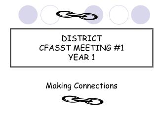DISTRICT  CFASST MEETING #1 YEAR 1 Making Connections