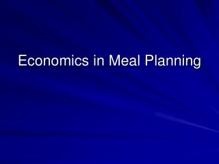 Economics in Meal Planning