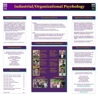 Employment opportunities for those with a Master s degree in I