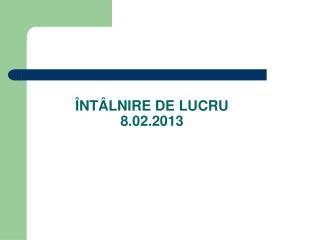 ÎNTÂLNIRE DE LUCRU 8.02.2013