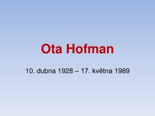Ota Hofman