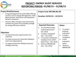PROJECT :  energy audit services Reporting period :  01 /08/13  –  31/08/13