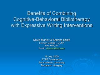 Benefits of Combining  Cognitive-Behavioral  Bibliotherapy  with Expressive Writing Interventions