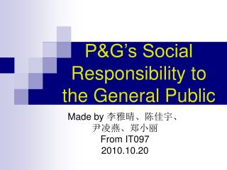 P&G's Social Responsibility to the General Public