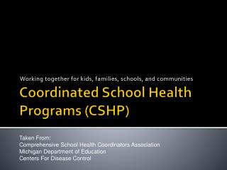 Coordinated School Health Programs (CSHP)
