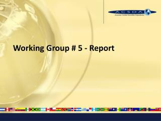 Working Group # 5 - Report