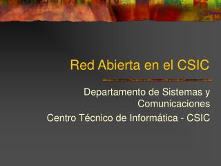 Red Abierta en el CSIC