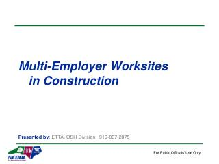 Multi-Employer Worksites     in Construction