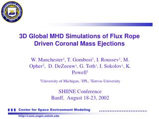 3D Global MHD Simulations of Flux Rope Driven Coronal Mass Ejections