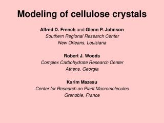 Modeling of cellulose crystals