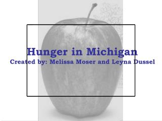 Hunger in Michigan Created by: Melissa Moser and Leyna Dussel