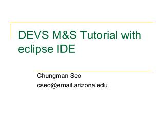 DEVS M&S Tutorial with eclipse IDE