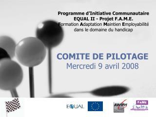 COMITE DE PILOTAGE Mercredi 9 avril 2008