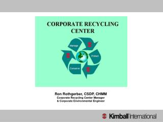 Ron Rothgerber, CSDP, CHMM Corporate Recycling Center Manager
