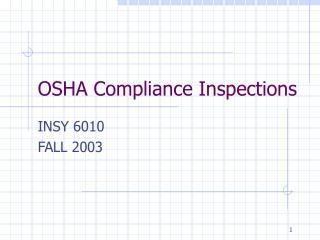 OSHA Compliance Inspections