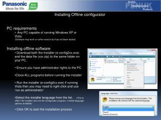 Installing Offline configurator