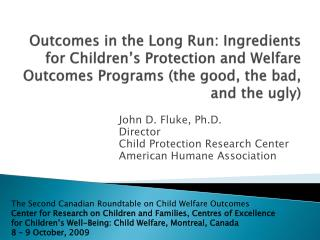John D. Fluke, Ph.D. Director Child Protection Research Center American Humane Association