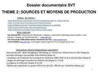 Dossier documentaire SVT