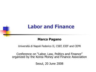 Labor and Finance