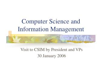 Computer Science and Information Management