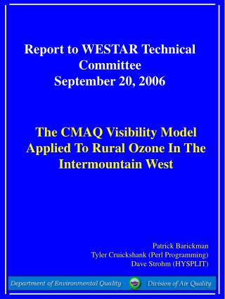 Report to WESTAR Technical Committee  September 20, 2006
