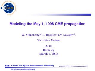 Modeling the May 1, 1998 CME propagation