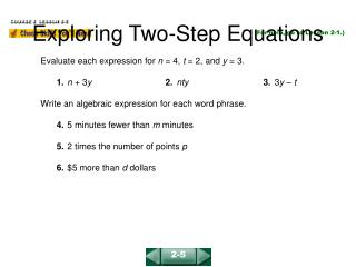 Exploring Two-Step Equations