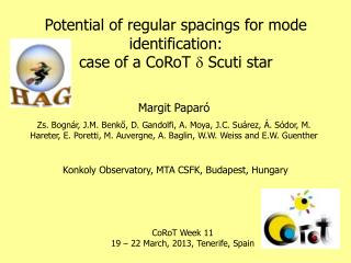 Potential of regular spacings for mode identification: case of a CoRoT  d  Scuti star
