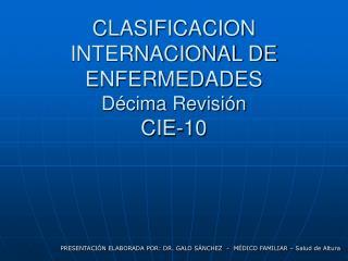 CLASIFICACION INTERNACIONAL DE ENFERMEDADES D cima Revisi n CIE-10