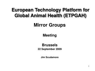 European Technology Platform for Global Animal Health (ETPGAH)