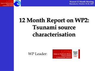 12 Month Report on WP2:  Tsunami source characterisation