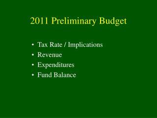 2011 Preliminary Budget