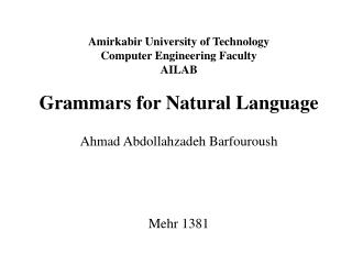 Amirkabir University of Technology Computer Engineering Faculty AILAB