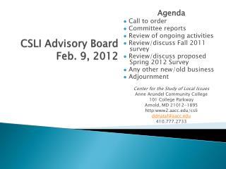 CSLI Advisory Board Feb. 9, 2012