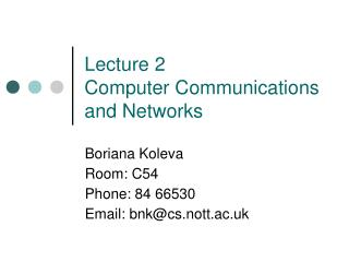 Lecture 2  Computer Communications and Networks