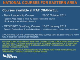 National Courses in Eastern Area