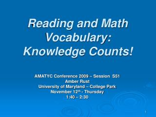 Reading and Math Vocabulary: Knowledge Counts!