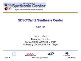 SDSC/Calit2 Synthesis Center CSIG '06
