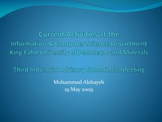 Mohammad Alshayeb 19 May 2009