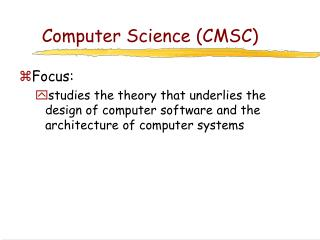 Computer Science (CMSC)