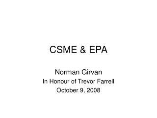 CSME & EPA