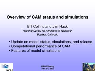 Overview of CAM status and simulations