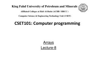 Arrays  Lecture-8