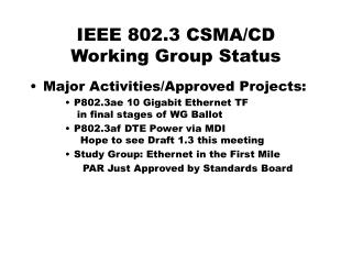 IEEE 802.3 CSMA/CD Working Group Status