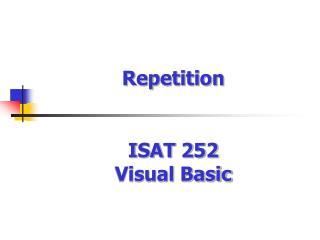 ISAT 252  Visual Basic
