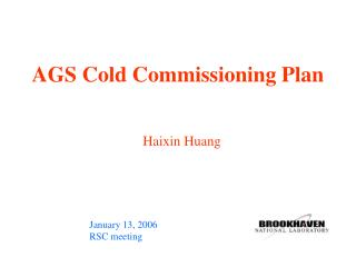 AGS Cold Commissioning Plan